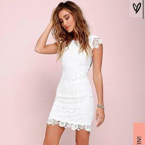 Lulu's Hidden Talent Backless Ivory Lace Dress S